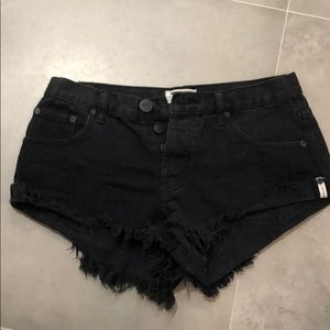 One teaspoon black denim shorts